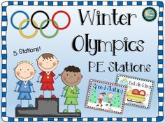 Winter Olympic P.E. Stations Freebee - So much fun for kids!
