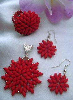 Florinett gyöngyékszerei - matt piros SD szett