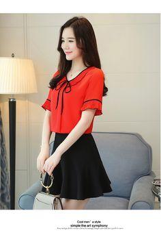 08406673ff126 Summer New Chiffon Shirt Female Round Neck Bow Tie Lotus Leaf Blouse Women  Ruffle Sleeve Short-Sleeved Ladies Tops Plus Size