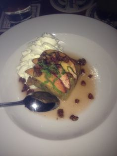 Armsby Abbey - 2013 Worcester Restaurant Week - 3rd Course - Tougas Farm Beach Breadk Pudding topped with Bourbon Whipped Cream & Candied Pecans 8.6.2013 #local #worcester