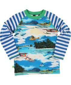 Molo Gorgeous Summer Plane T-shirt with Striped Sleeves #emilea