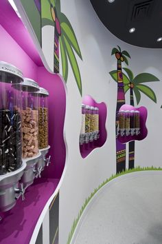 Samba Swirl, frozen yogurt shop in Clapham by ABDA Creative Design & Build - Cornfé - Yogurt Cookie Display, Smoothie Shop, Gelato Shop, Yogurt Bar, Frozen Yogurt Shop, Ice Cream Parlor, Candy Store, Retail Design, Business Design