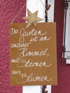 """Edelrost Schild mit Stern """"Der Garten ist..."""""""