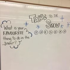 """Well, it's official! The snow is falling! Our """"winter"""" is here. Classroom Whiteboard, Morning Activities, Writing Activities, Journal Prompts, Journals, Journal Entries, Morning Board, Daily Writing Prompts, Bell Work"""