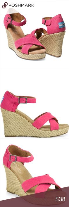 Toms pink hemp wedge sandals Beautiful pink Used Toms sandals that are in great condition! Size 7.5 front has a little stain but not noticeable with heals on Toms Shoes Wedges