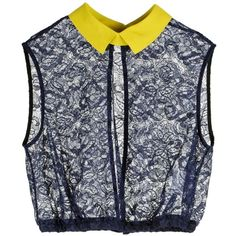 CARVEN Lace Top ($165) ❤ liked on Polyvore featuring tops, blouses, shirts, blusas, navy lace shirt, yellow lace shirt, sleeveless tops, navy lace top and lace top
