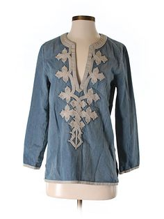 jcrew chambray embroidered blouse - $26