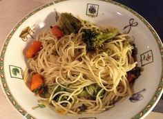 Pasta with Vegetable.  Cook a box of pasta as directed in the box. Meanwhile in a pan with 2tbsp olive oil sauté 1 chopped garlic clove, 2c cut broccoli, 4 peeled and sliced carrots, 1tsp salt. Add 1tbsp pasta water to the vegetables. Drain he pasta and mix with the vegetables. Serves 4