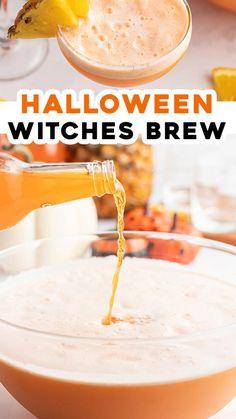 Halloween Drinks, Halloween Desserts, Halloween Punch, Halloween Treats, Halloween Party, Witch Party, Halloween Appetizers, Easy Halloween, Fall Recipes