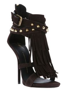 Giuseppe Zanotti Studded Stiletto Sandal in Black (brown) Dream Shoes, Crazy Shoes, Me Too Shoes, Giuseppe Zanotti, Stilettos, Pumps, Pretty Shoes, Beautiful Shoes, Zapatos Shoes