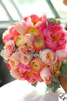 Bridal Bouquet | Coral Bouquet | Coral Charm Peony| Juliet Roses| Peach Tulips| Coral Ranunculus| Designed by Engaging Events