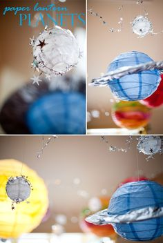 DIY paper lantern planets perfect for a space or science birthday party!