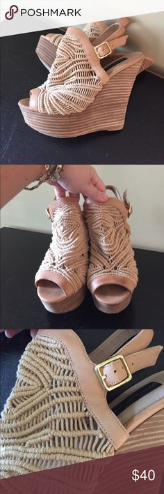 Steven by Steve Madden crochet wedges In love with these shoes! Wore one time and decided they were too big. Great condition besides small marks shown in pictures. Gold buckles. Heel height: 5 1/2 inches platform height: 2 inches Steven By Steve Madden Shoes Wedges