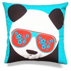 coussin déco Panda bleu pour enfant et adulte