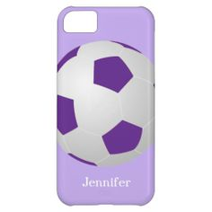 iPhone 5c Case, Soccer Ball, Purple, Personalized - This case for the iPhone 5c is decorated with a large purple and white soccer ball on a pale purple background, and personalized with name or other text. It's easy to modify or delete example text. What a wonderful complement for your new iPhone. Wonderful gift for soccer players, fans, or coaches. All Rights Reserved © 2014 Alan & Marcia Socolik. #Soccer #Purple #Cases4IPhone