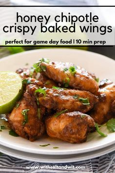 These Honey Chipotle Crispy Oven Baked Wings are your next healthy appetizer recipe! The secret ingredient creates a crispy crust without frying! Then an easy Honey Chipotle sauce is poured over them, creating an easy party appetizer! Easy Clean Eating Recipes, Paleo Recipes Easy, Easy Appetizer Recipes, Wing Recipes, Spicy Recipes, Honey Chipotle Sauce, Slow Cooker Baked Beans, Recipes With Few Ingredients, Quick Chicken Recipes