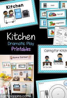 Kitchen printables for dramatic play centers and pretend play - Fairy Poppins home corner ideas Dramatic Play Themes, Dramatic Play Centers, Dramatic Play Area, Early Learning Activities, Play Based Learning, Preschool Kitchen Center, Kindergarten Centers, Role Play Areas, Environmental Print