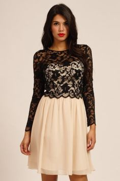 cream and black lace long sleeved dress. little mistress.