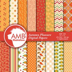 80% OFF SALE ENDS SOON HURRY!  Autumn Leaves scrapbooking paper set includes 16 perfect Fall themed papers featuring lots of leaves, maple leaves, oak leaves, popular leaves, stripes, polka dots in rich autumn colours. Also acorns and pumpkins everything you need for your crafts!  These papers are just what you need to create a Fall theme. Use these to create your own scrapbooking pages, product design, invites and cards or anything else your imagination can come up with!   PLEASE CONTINUE…