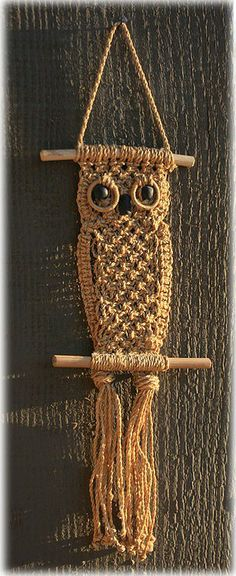 Owl hanger macrame vintage by AGardenCottage on Etsy
