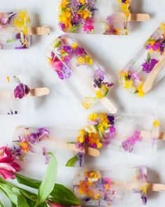 What better way to celebrate the start of summer than with Garden Collage's homemade ice pops? Made with edible flowers, these popsicles are a beautiful addition to any party. Think outside the box and test out flavors like rose and lavender, or even try mixing in herbs from your garden, like basil!