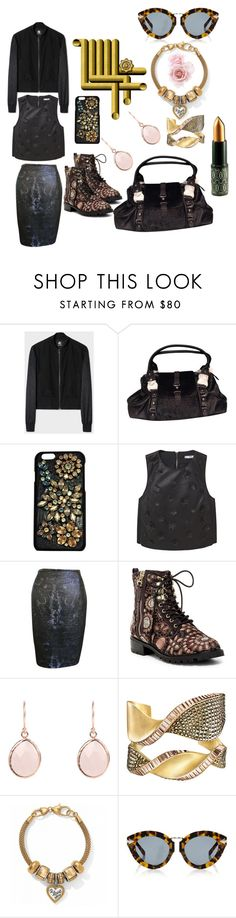 """""""Dark Floral"""" by michelle858 ❤ liked on Polyvore featuring Dolce&Gabbana, MANGO, ESCADA, Alice + Olivia and Karen Walker"""