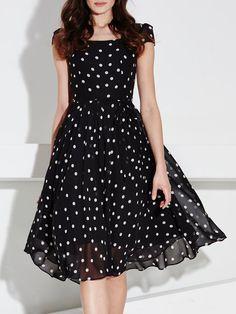 Black Swing Short Sleeve Polka Dots Midi Dress