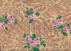 """40s Fabric / Rayon Print / Pink and Green Flowers / 38"""" x 2.5 yards. $30.00, via Etsy."""