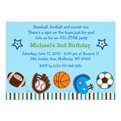 Sports Baseball Football Birthday Invitations