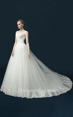 A-Line Long Beading Appliques Split Front Split Tulle Lace Sequins Dress - Dorris Wedding