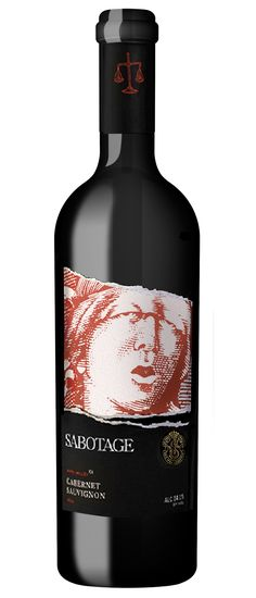 Sabotage Wine Label Illustrated by Steven Noble
