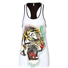 Faith Connexion Tiger Print Tank ($70) ❤ liked on Polyvore featuring tops, shirts, animal prints, tiger print shirt, tiger tanks, long tank, sleeveless tank tops and racerback tank tops