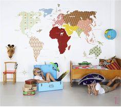 Erilaisista tapeteista tehty maailmankartta.