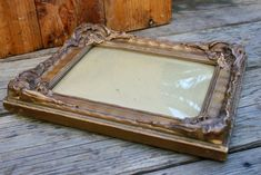 Antigue Golden Plaster or Gesso Wood Picture Frame w/ Original | Etsy Wood Picture Frames, Picture On Wood, Concave, Plaster, Victorian Era, Bubbles, Unique Jewelry, The Originals, Antiques
