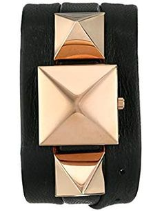 Women's LMPYRAMID003 Rose Gold-Tone Watch with Black Wrap Band