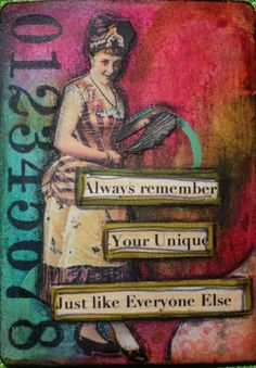 ATC Altered Playing Card I made while taking Mary Jane Chadbournes of Artful… Mixed Media Artists, Mixed Media Collage, Collage Art, Collages, Art Journal Pages, Journal Cards, Art Journaling, Junk Journal, Atc Cards