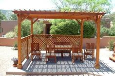 Garden Timber Pergola With Lattice Screen