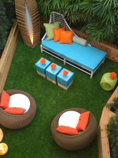 Peaceful retreat in a small backyard LANDSCAPE YARDS SYNTHETIC TURF OUTDOOR…