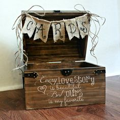 Shabby Chic Rustic Wooden Card Box Wedding Card Box via Etsy. instead of this, use frames with glass and string them across the card box Wooden Card Box Wedding, Wedding Gift Card Box, Gift Table Wedding, Gift Card Boxes, Wedding Boxes, Chic Wedding, Wedding Cards, Dream Wedding, Trendy Wedding