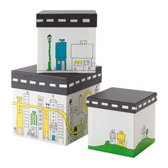 IKEA - FLYTTBAR, Box with lid, , Ideal for storing small things on the desk, hobby beads, and small toys.A stable box that even small children can move, open and close on their own.The 3 boxes have different sizes and can be placed inside each other when you're not using them.
