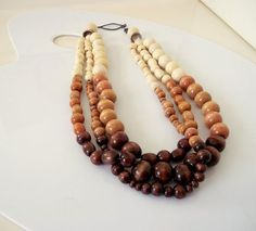 ombre neutral chunky wooden bead necklace