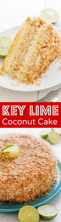 Key Lime торт является конечной летом партия торт.  Этот ключ извести пирог массированным с поджаренного кокоса и имеет сок 5 лаймов.  Так освежает!  |  natashaskitchen.com