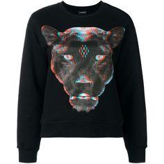 Marcelo Burlon County Of Milan panther printed sweatshirt ($480) ❤ liked on Polyvore featuring tops, hoodies, sweatshirts, black, patterned sweatshirt, drop shoulder tops, long sleeve sweatshirt, crew-neck sweatshirts and cotton sweatshirts