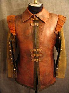 09011122 Doublet Cavalier, Brown Leather, Wool Sleeves, C40.JPG