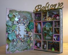 Victorian Faeries Faux Book Assemblage with Mini-Vignettes OOAK Handmade by Enchanted Revelries, $135.00 USD