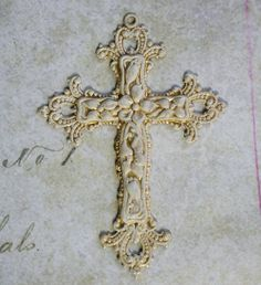 ALTER ME HAPPY whitened patina large ornate cross pendant in -Baroque-, brass altered art supplies. $4.50, via Etsy.