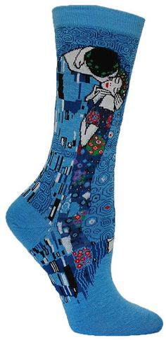 "Is your heart melting? Crew length socks featuring Gustav Klimt's ""The Kiss"" -- available in Sunflower or Washed Blue. Fits a women's shoe size 5-10."