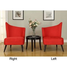 Give your living room a futuristic update with one of these red microfiber accent chairs. Choose from a right or left side chair to match your current room design. The black legs accent this beautiful flared-back chair with elegance.