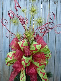 Christmas Tree Topper Double Sided Tree Top Bow by HornsHandmade Basement grinch tree topper Noel Christmas, Christmas Tree Toppers, Christmas Projects, Winter Christmas, All Things Christmas, Holiday Crafts, Holiday Fun, Christmas Wreaths, Christmas Decorations