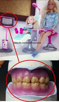 Which is more odd... Barbie's full molar occlusion or the way she is dressed for work?